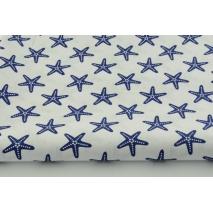 Bawełna 100% biała w granatowe rozgwiazdy