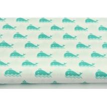 Bawełna 100% biała w morskie wielorybki