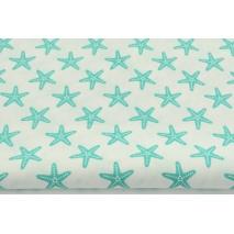 Bawełna 100% biała w morskie rozgwiazdy