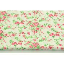 Bawełna 100% amarantowe kwiatki na białym tle