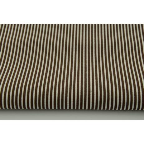 Bawełna brązowe paski 2x1mm na białym tle