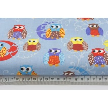 Cotton 100% owls on blue background