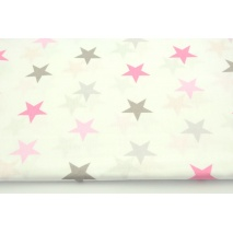 Cotton 100% pink and gray 4cm stars