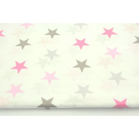 Bawełna 100% 4cm gwiazdy różowo-szare