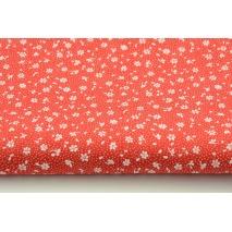 Bawełna 100% biała łączka na czerwonym tle, drobne kwiatki