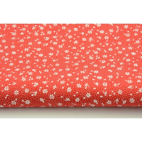 Bawełna 100% łączka na czerwonym tle, drobne kwiatki