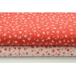 Cotton 100% white meadow on a red background, small flowers