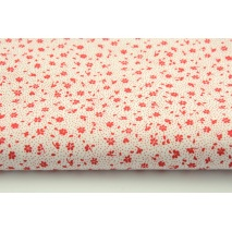 Cotton 100% red meadow on a white background, small flowers