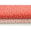 Bawełna 100% czerwona łączka na białym tle, drobne kwiatki