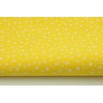Bawełna 100% biała łączka na żółtym tle, drobne kwiatki