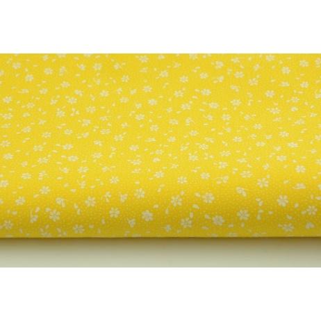 Bawełna 100% biała łączka na żółtym tle, drbne kwiatki