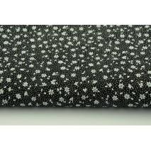 Bawełna 100% biała łączka na czarnym tle, drobne kwiatki