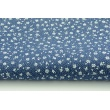 Cotton 100% white meadow on a navy background, small flowers