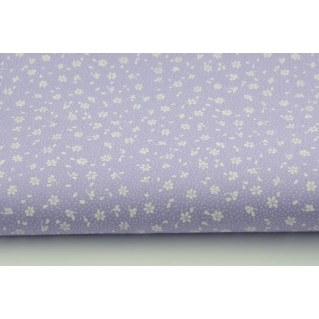 Cotton 100% white meadow on a violet background, small flowers