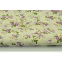 Bawełna 100% fioletowe kwiatki na kremowym tle