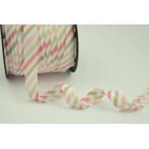Cotton bias binding pink and beige stripes