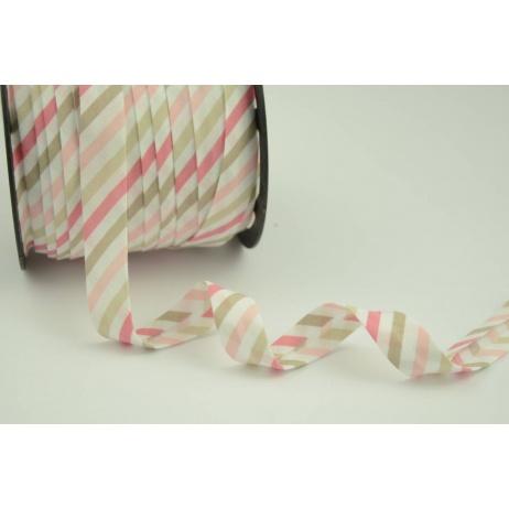 Lamówka bawełniana paski różowo-beżowe