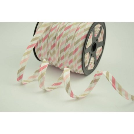 Cotton edging ribbon pink and beige stripes