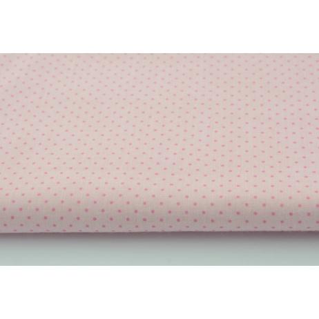 Bawełna 100% mini kropki różowe na jasnoróżowym tle