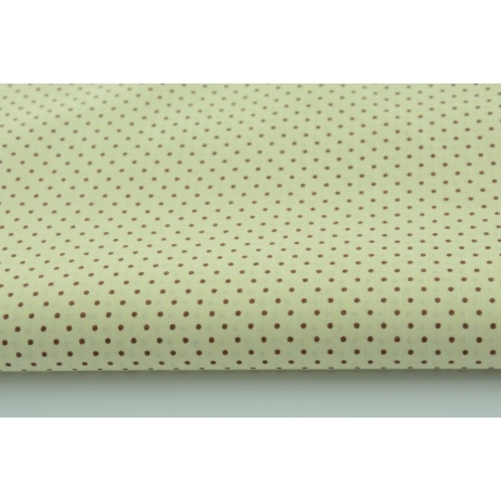 Bawełna 100% mini brązowe kropki na kremowym tle