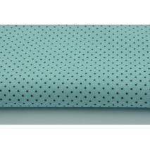 Bawełna 100% mini szare kropki na turkusowym tle
