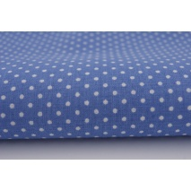Cotton 100% white 2mm polka dots on a dark blue background
