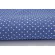 Cotton 100% white 2mm polka dots on a dark blue background