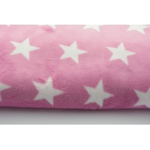 Polar fleece double sided white stars on a pink background