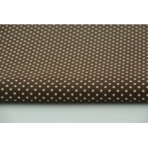 Bawełna 100%, kropki białe 2mm na brązowym tle 2