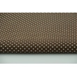 Cotton 100% white polka dots 2mm on a brown background