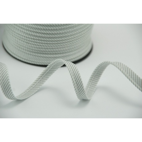 Cotton edging ribbon gray-white small stripes