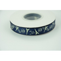 Paris navy grosgrain ribbon 16mm - 20 meters