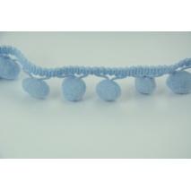 Tasiemka z pomponami błękitna - podwójne nitki