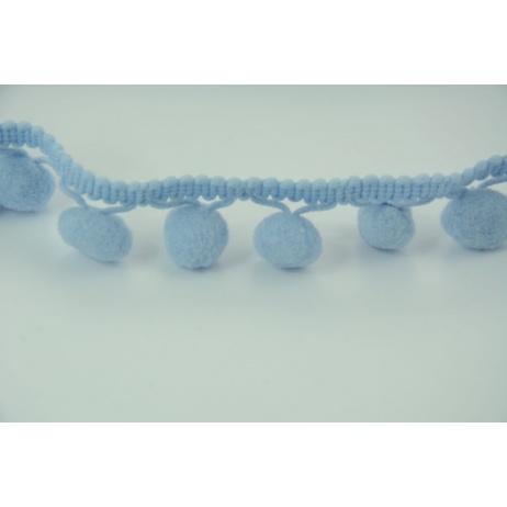 Tasiemka z pomponami niebieska - podwójne nitki
