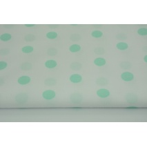 Cotton 100% mint polka dots 17mm on a white background
