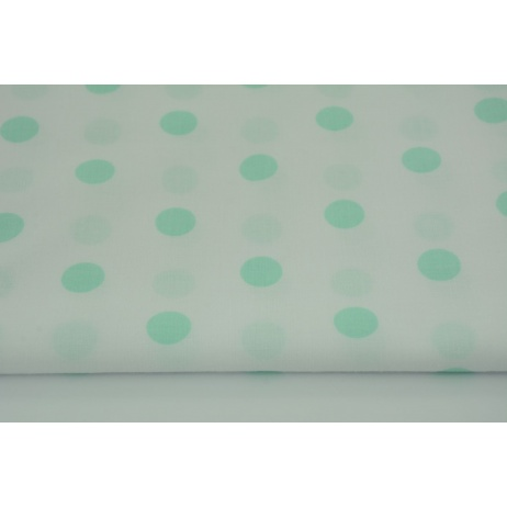 Bawełna 100% miętowe kropki 17mm na białym tle