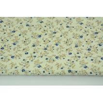 Bawełna 100% kwiatki niebieskie na kremowym tle