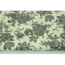 Bawełna 100% ciemnoszare kwiaty na kremowym tle