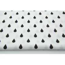 Cotton 100% black rain drops, droplets on a white background