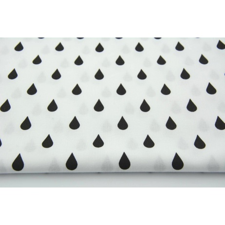 Cotton 100% black rain drops, droplets on a white background