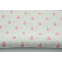 Bawełna 100% biała w różowe kropelki, krople