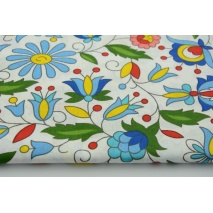 Cotton 100% Kashubian flowers pattern on a white background