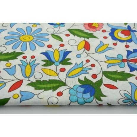 Bawełna 100% kwiaty kaszubskie na białym tle