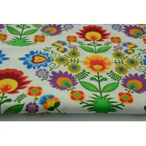 Cotton 100% Kashubian tablecloth pattern on a white background
