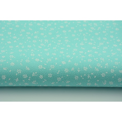 Cotton 100% white meadow on a turquoise background, small flowers