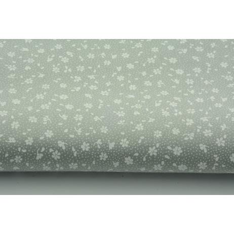 Bawełna 100% biała łączka na szarym tle, drobne kwiatki
