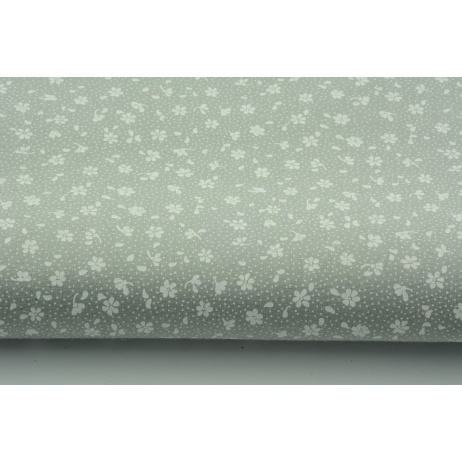 Cotton 100% white meadow on a gray background, small flowers
