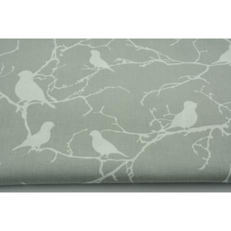Bawełna 100% ptaszki na gałązkach, na szarym tle