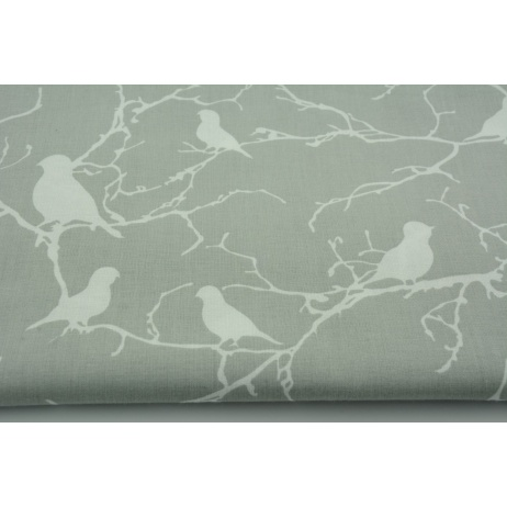 Cotton 100% birds on branches on a gray background