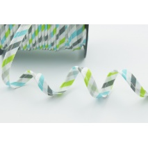 Cotton edging ribbon turquoise, gray and lime stripes